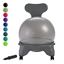 Gaiam Classic Balance Ball Chair – Exercise Stability Yoga Ball Premium Ergonomic Chair for Home and Office Desk with Air Pump, Exercise Guide and Satisfaction Guarantee, Cool Grey