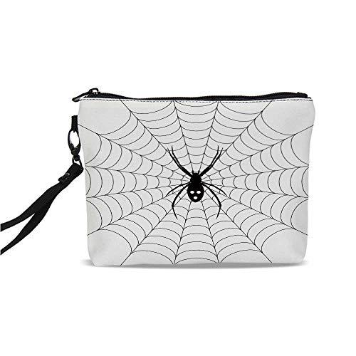 (Spider Web Simple Cosmetic Bag,Poisonous Bug Venom Thread Circular Cobweb Arachnid Cartoon Halloween Icon Decorative for Women,9