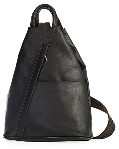 Duffle LIATALIA Coffee Bag Italian Soft Small Strap Backpack Convertible ALEX Leather Unisex Rucksack nwnz7