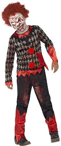 Boys Creepy Dead Evil Bloody Zombie Clown Circus Carnival Halloween Fancy Dress Costume & Latex Mask 7-12 Years (10-12 -