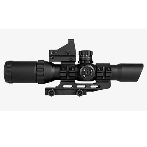 M1SURPLUS Trinity 1-4x28 Assualt Optic with Illuminated Small Cross Reticle + Backup Dot Sight + Integral Mount - Fits Weaver Picatinny Rails Mossberg MMR 715t FLEX22 Ruger SR22 Rifles