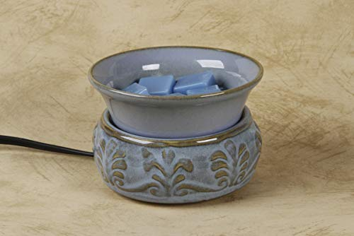 Darice MELT-008 Embossed Light Blue Ceramic Electric Wax Warmer