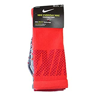 Nike 3-pk Dri-fit Cushioned Crew Socks for MEN (RED GREY, LARGE)