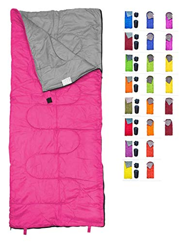 REVALCAMP Lightweight Pink Sleeping Bag Indoor & Outdoor use. Great for Kids, Youth & Adults. Ultralight and Compact Bags are Perfect for Hiking, Backpacking, Camping & Travel.