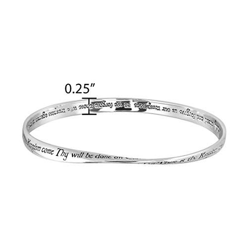WithLoveSilver Solid Sterling Silver 925 Mobius Lords Prayer Bangle Bracelet