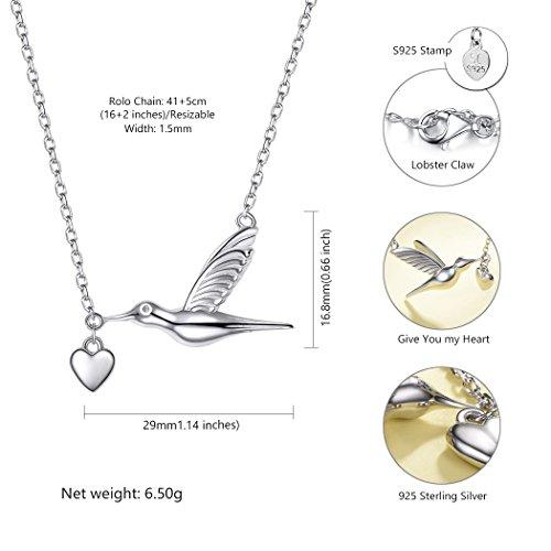 SILVERCUTE Novelty Heart Hummingbird Women Necklace 925 Sterling Silver Fine Jewelry Bird Pendant & Chain by SILVERCUTE (Image #2)