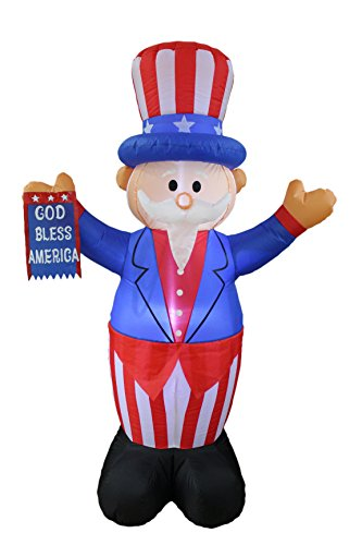 BZB Goods 6 Foot Tall Patriotic Independence Day 4th of July Inflatable Uncle Sam with God Bless America Flag LED Blow Up Lighted Decor Indoor Outdoor Holiday Art Decor Decorations ()