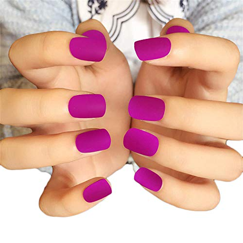 JINDIN 24 Sheet Short Matte Fake Nails with Glue Acrylic French False Nail Art Tips Full Cover Press On Nails Sticker Purple]()