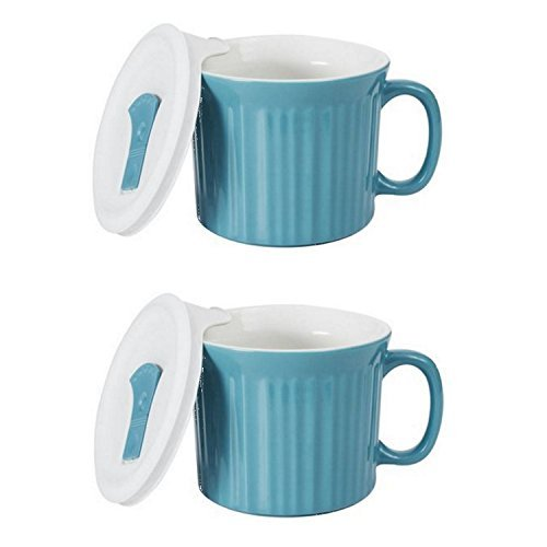 Corningware 20-Ounce Oven Safe Meal Mug with Vented Lid, Pool Blue, Pack of -