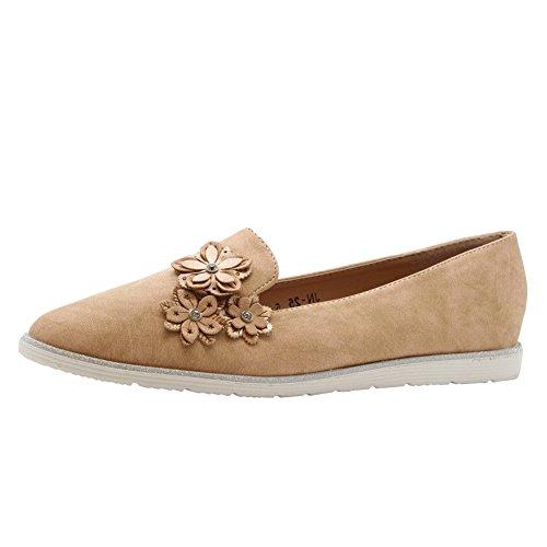 SAUTE STYLES Womens Flats Casual Slip On Flower Loafers School Office Pumps Shoes Size 3-8 Beige Tan K0WFca