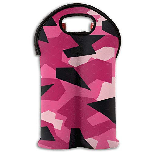 Geometric Camo Pink 2 Bottle Wine Tote Carrier Bag Portable Insulated Polyester Beer Hand Bag for Travel,Picnic,Party