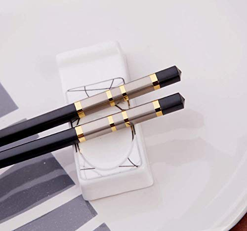 LeBlue 2 Pairs Silver and Gold Fiberglass Chinese Reusable Dishwasher Safe Chopsticks GIFT SET ()