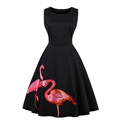 a212db5560 yangelo Women Flamingo Fun Flare Prints Flowy Dress A-line Cute Party  Cocktail Dresses (XL