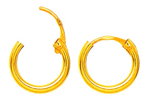 - 14K Gold EasyOn Hinged Continuous Endless Hoop Earrings (1.5mm Tube), All Sizes (10.0, yellow-gold)