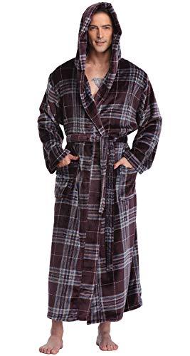 Men's Hooded Robe Long Plush Fleece Bathrobe Soft Spa Robe, Deep Purple Plaid, S/M]()