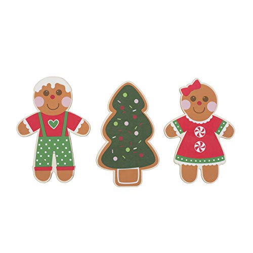 Darice 30075848 Painted Wood Christmas Shapes: Santa, Snowman and Reindeer, 3 Pieces, Multicolor ()