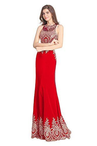 Homecoming Embroidery Pieces Red Two Fanciest Long Gowns Women's Prom Dresses Uq11aw