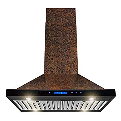 "AKDY Island Mount Range Hood -30"" Embossed Copper Hood Fan for Kitchen - 4-Speed Professional Quiet Motor - Premium Touch Control Panel - Elegant Vine Design - Baffle Filter & Halogen Lamp"