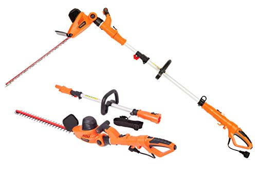 GARCARE 4.8A Multi-Angle Corded 2 in 1 Pole and Portable Hedge Trimmer with 20 Inch Laser Blade (Renewed)