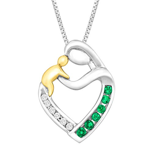 1/6 ct Created Emerald Mother & Child Pendant with Diamonds in Sterling Silver & 14K Gold, 18""