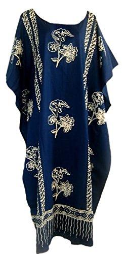 Cool Kaftans JAVA Print Cotton Kaftan Caftan Dress One Plus Size New - Blue Cool Kaftans