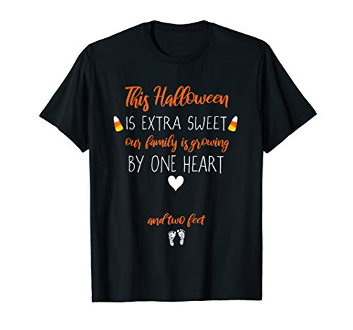 Expecting Mom Candy Corn Halloween Pregnancy Reveal T-Shirt ()