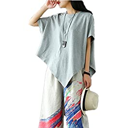 YESNO Women Casual Funny Cartoon Short Sleeve Tee T-Shirt Loose Summer Tops w/Cuts/Pockets EG7