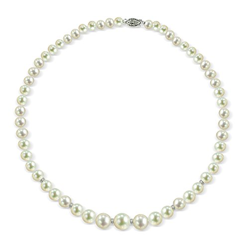 Sterling Silver .06tcw Roundel Diamond Graduated 6-11mm White Freshwater Cultured Pearl Necklace 18