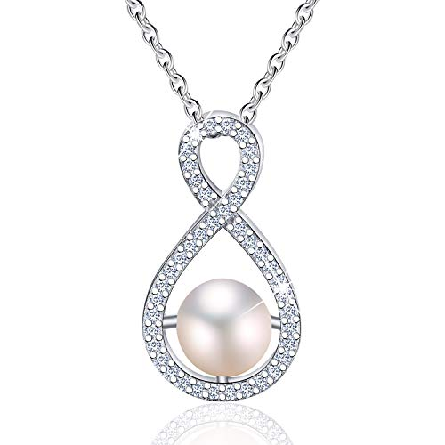 - Esberry 18K Gold Plated 925 Sterling Silver Handpicked Freshwater Cultured White Pearl Infinity Teardrop Pendant Necklace Cubic Zirconia Pendant with Necklaces for Women (Pink)