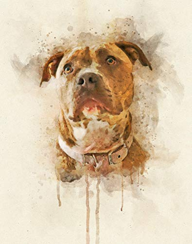 Pitbull Watercolor Art Print in Various Sizes, American Staffordshire Terrier Wall Decor for a Nursery, Home, or Office | Gifts for a Pit Bull Dog Lover, Pitbull Mom, Pet Remembrance, Pet Memorial