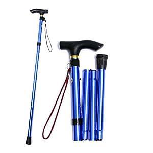 UEETEK Plegable bastón caña Viajes muleta Alpenstock para Ajustable aleación de Aluminio (Azul)