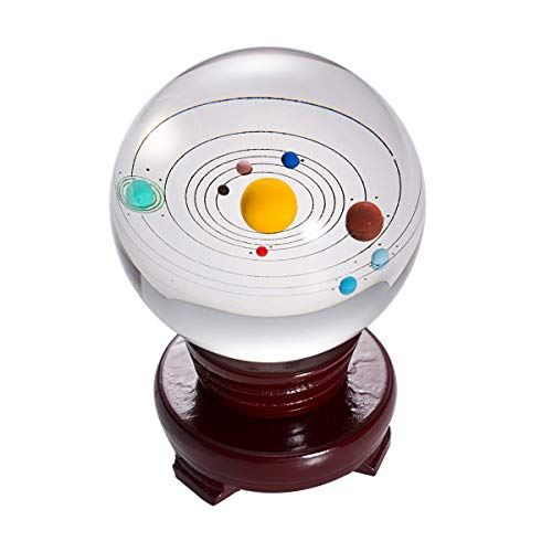 LONGWIN Solar System Model Crystal Ball 3D Clear 80mm (3.15 inch) Glass Planet Balls Photography with Wooden Stand