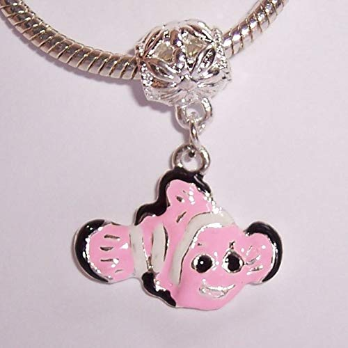 Jewelry Making Supplies Pink Clown Fish Beach Diving Tropical Enamel Dangle Charm for European Bracelets Make Personalized Necklaces Bracelets and Other Jewelry ()