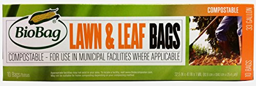 - BioBag Premium Compostable Lawn & Leaf Yard Waste Bags, 33 Gallon, 10 Count (Pack of 2)