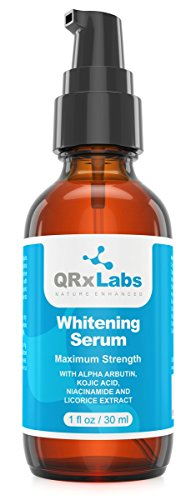 Skin Whitening Serum with 2% Alpha Arbutin, Kojic Acid & Licorice Root Extract - Maximum Strength Brightening for Face, Neck & Body - Dark Spots, Hyperpigmentation, Melasma and Sun Damage - 1 fl oz
