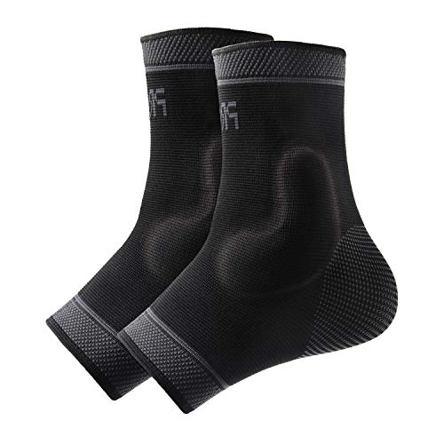 Protle Foot Socks Ankle Brace Compression Support Sleeve with Silicone Gel – Boosts Recovery from Joint Pain, Sprain, Plantar Fasciitis, Heel Spur, Achilles tendonitis (Medium, Pair-Black)