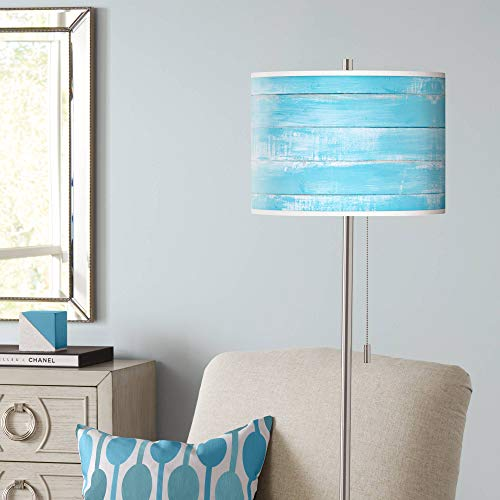 Barnyard Blue Brushed Nickel Pull Chain Floor Lamp - Giclee - Nickel Giclee Floor Lamp