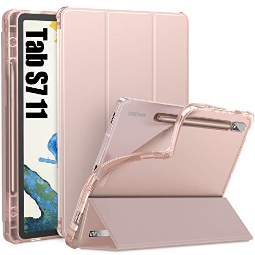 INFILAND Galaxy Tab S7 Case with S Pen Holder, Smart Stand Case Cover with Frosted Translucent Back Fit Samsung Galaxy Tab S7 11-inch SM-T870/T875/T876 2020 Release Tablet [Auto Wake/Sleep], Rose Gold