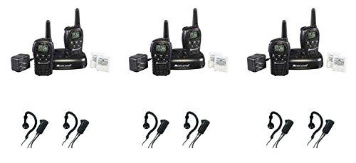 Midland LXT500VP3 FRS/GMRS 2 Way Radios Up to 24-Mile Range 22 Channels with Midland AVPH4 Headsets, Brand New Sealed 6 PACK