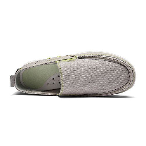VILOCY Mens Casual Driving Canvas Slip-On Loafers Outdoor Walking Shoes Lightweight Sneakers Gray KdNi0v