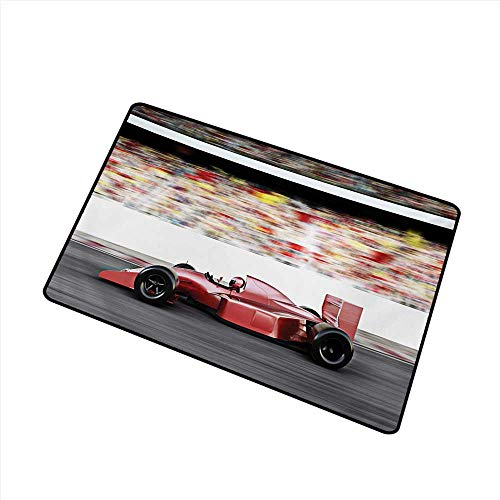 (Entrance Door mat Cars Sports Theme Red Race Car Side View on a Track Leading The Pack with Motion Blur W16 xL20 Easy to Clean Carpet)