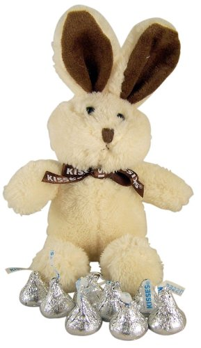 Easter Basket Filler Creme Plush Stuffed Animal Bunny Toy with Hershey Kisses Candy
