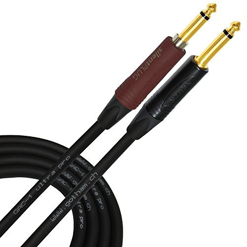 35 Foot - Gotham GAC-1 Ultra Pro - Premium Low-Cap (21 pf/F) Guitar Bass Instrument Cable w/Neutrik Gold Straight to Straight (Silent Plug) ¼ inch (6.35mm) TS Plugs- Custom Made by WORLDS BEST CABLES
