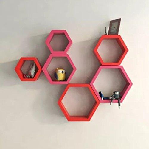Onlineshoppee Set of 6 Hexagon Shape Designer Storage Shelves   Red/Pink.