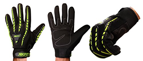 KIKFIT Motorbike Motorcycle Gloves Full Finger Leather High Visibility All Weather Thermal Winter Summer Cycling Waterproof Windproof Knuckle Protector Gloves Bike Riding MTB Sports