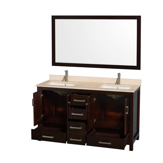 "Wyndham Collection Sheffield 60 inch Double Bathroom Vanity in Espresso, Ivory Marble Countertop, Undermount Square… - Constructed of environmentally friendly, zero emissions solid wood, engineered to prevent warping and last a lifetime. 12-stage wood preparation, sanding, painting and hand-finishing process. Highly water-resistant low V.O.C. sealed finish. Beautiful transitional styling that compliments any bathroom. Practical Floor-Standing Design. Minimal assembly required. Deep Doweled Drawers. Fully-extending under-mount soft-close drawer slides. Concealed soft-close door hinges. Metal exterior hardware with brushed chrome finish. Plenty of storage space. Four (4) functional doors. Five (5) functional drawers. Faucet(s) not included. 3"" backsplash. - bathroom-vanities, bathroom-fixtures-hardware, bathroom - 41sg6FvAVuL. SS570  -"