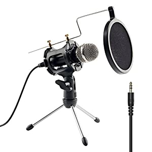 beawelle Condenser Microphone with Audio Y Splitter, Plug & Play Home Studio Microphones with Mini Desktop MIC Stand dual-layer acoustic filter for Recording, PC, Computer, Podcasting
