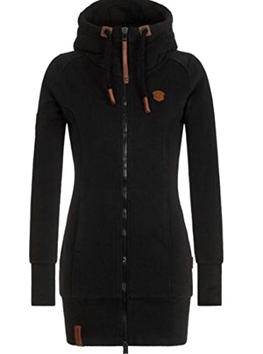 h Stand Collar Drawstring Hoodie Long Sweatshirt Jacket Black S ()
