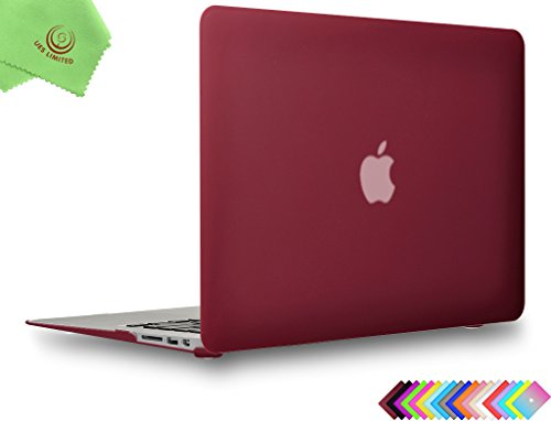 UESWILL Smooth Matte Hard Shell Case Cover for MacBook Air 11 inch (Models: A1370/A1465) + Microfibre Cleaning Cloth, Wine Red