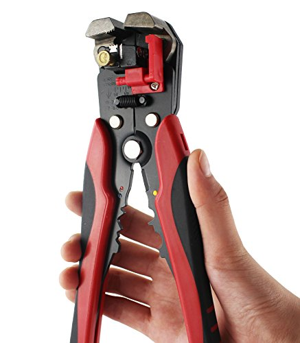 Automatic Electric Cutter - Kinee Self-Adjusting Wire Stripper, 8-Inch Wire Stripping Tool Automatic Electric Cable Stripper Cutter Crimper, Professional Multi-Purpose Terminal Tool Pliers for 10-24 AWG Stranded Wire Cutting